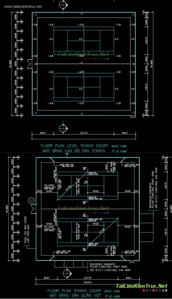 Bản vẽ chi tiết autocad tiêu chuẩn sân Tennis