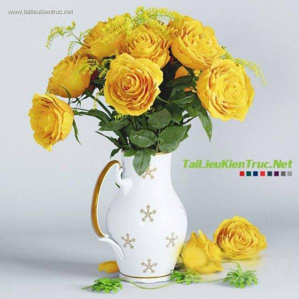 3D model hoa hồng vàng 002