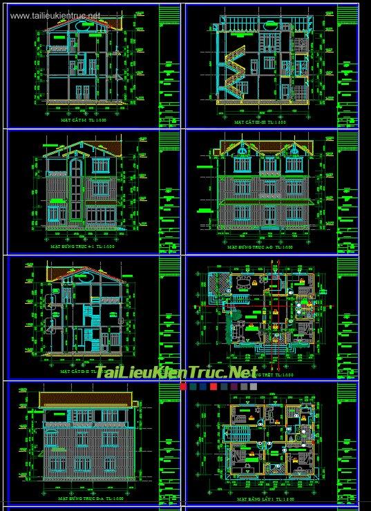Hồ sơ thiết kế biệt thự 10x12m 002 Mái thái