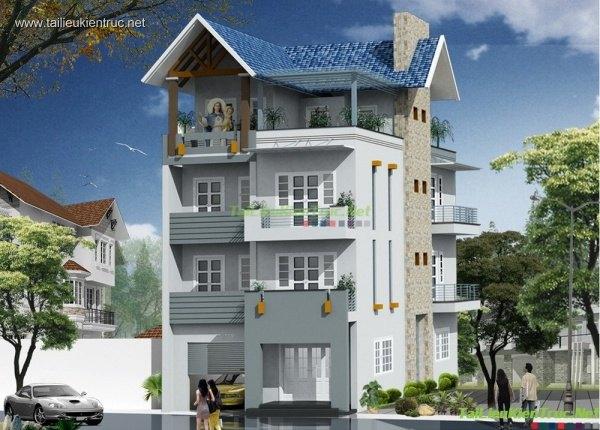 Hồ sơ thiết kế thi công nhà phố 4 tầng diện tích 7,7x14m - 003