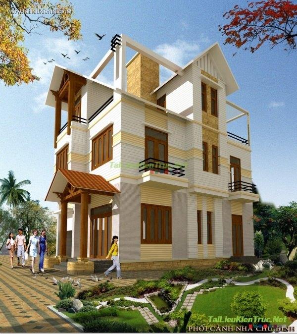 Hồ sơ thiết kế thi công biệt thự 3 tầng diện tích 7x11m - 008