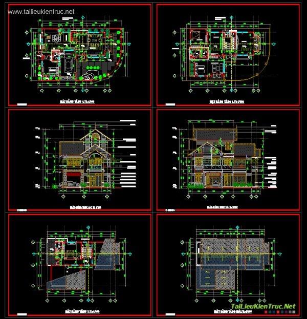 Hồ sơ thiết kế biệt thự 3 tầng diện tích 12x20m - 009