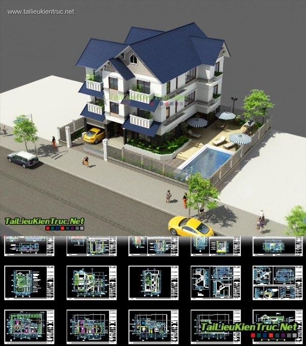 Hồ sơ thiết kế biệt thự 3 tầng diện tích 10x17m - 0010