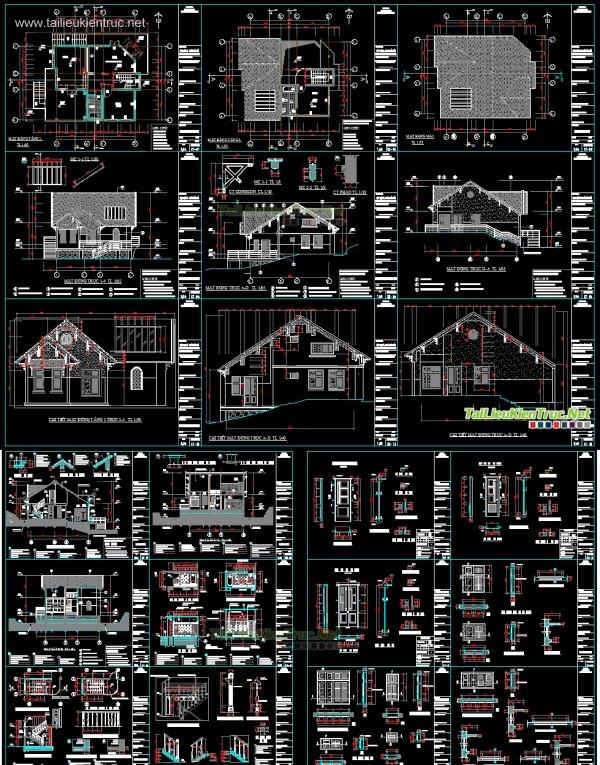 Hồ sơ thiết kế biệt thự ven đồi 1 tầng diện tích 11x15m full - 0011