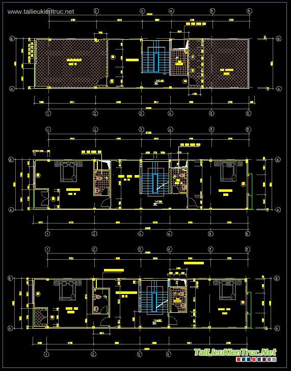 Hồ sơ thiết kế thi công nhà phố 3 tầng diện tích 5x20m - 004
