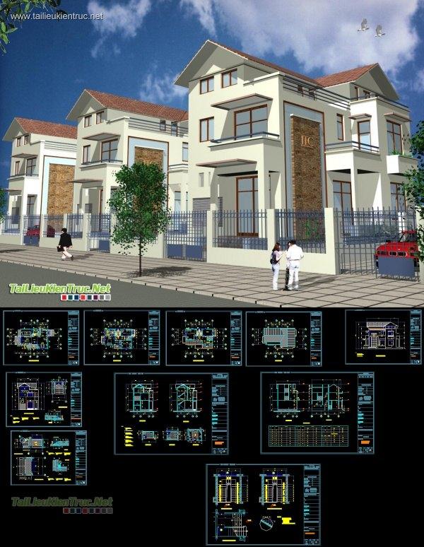 Hồ sơ thiết kế biệt thự 3 tầng diện tích 9x15m - 0012