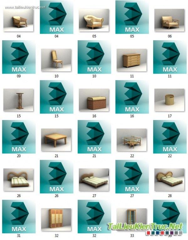 3D Model Bàn ghế - Bàn ghế Mây tre đan