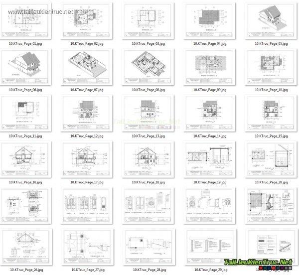 Hồ sơ thiết kế thi công nhà phố 3 tầng 9x11m - 008