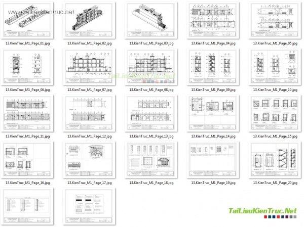 Hồ sơ thiết kế thi công nhà phố 3 tầng 5x25m - 009