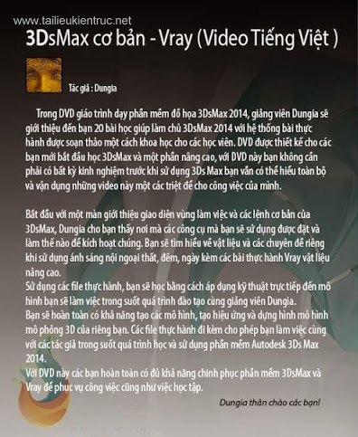 Tổng hợp DVD Dạy 3dsmax cơ bản - Vray Tiếng Việt