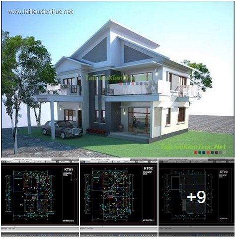 Hồ sơ thiết kế biệt thự đẹp 2 tầng 2 mái dốc - 0012