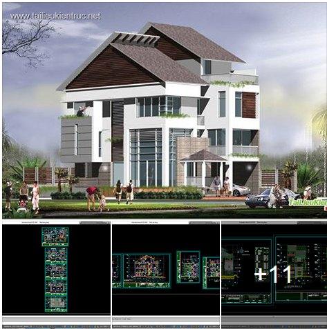 Hồ sơ thiết kế biệt thự 11x21m 2 tầng - 0013