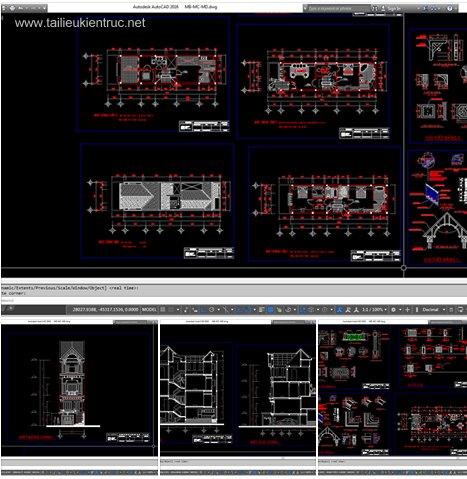 Hồ sơ thiết kế thi công nhà phố 4 tầng 5x18.8m - 010