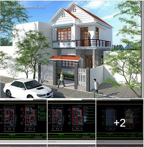 Hồ sơ thiết kế nhà phố 2 tầng 6x9m - 011