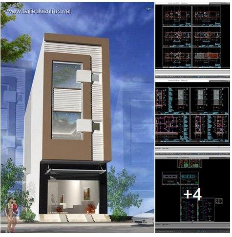 Hồ sơ thiết kế nhà phố lệch tầng 4x16m - 012