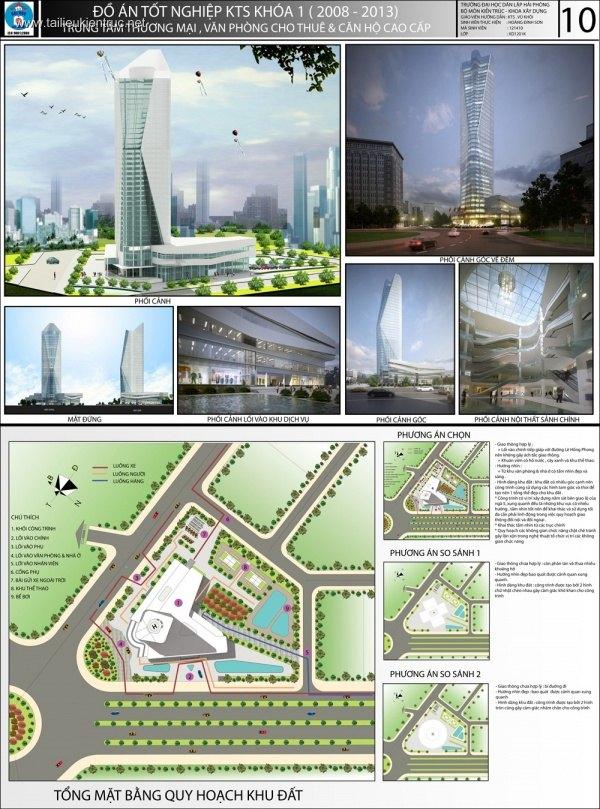 Đồ án kiến trúc - Trung tâm Thương mại và văn phòng cho thuê Cao cấp