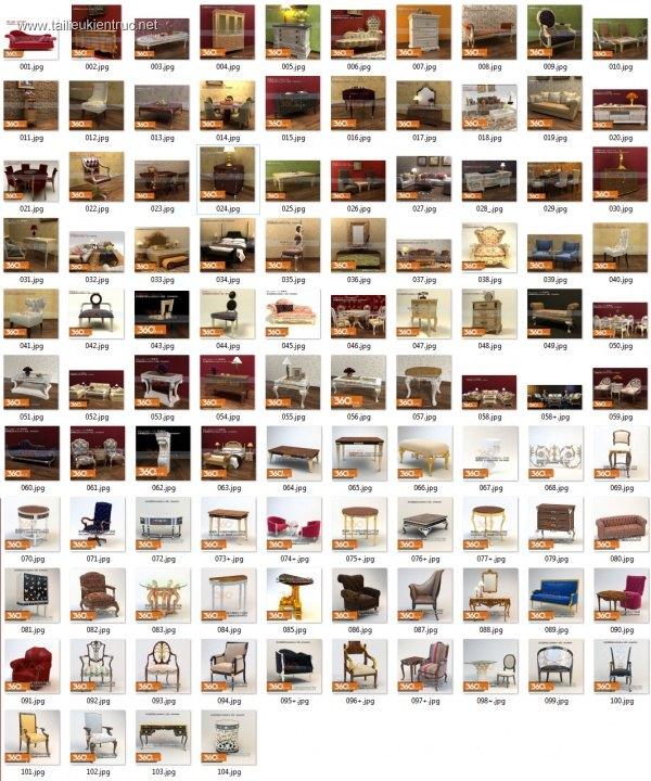 Tổng hợp 3D Model Bàn ghế, giường, tủ, kệ Tân cổ điển