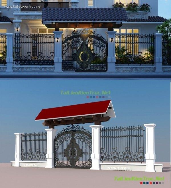 Sence Villa 00009 - Model cổng biệt thự tân cổ điển