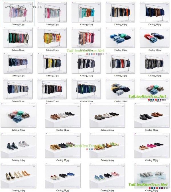 Tổng hợp 3D Model về quần áo, dày dép, gối giường, rèm, ghế, khăn