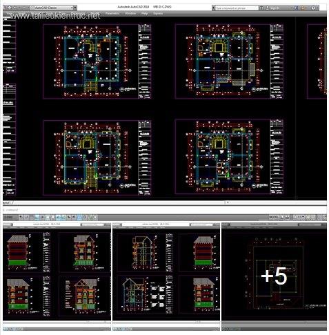 Hồ sơ thiết kế biệt thự 9x9m 4 tầng Pháp cổ - 0020