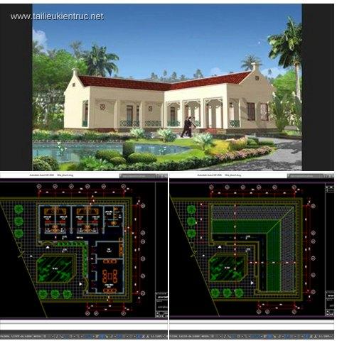 Hồ sơ thiết kế nhà 1 tầng nông thôn diện tích 17x17m