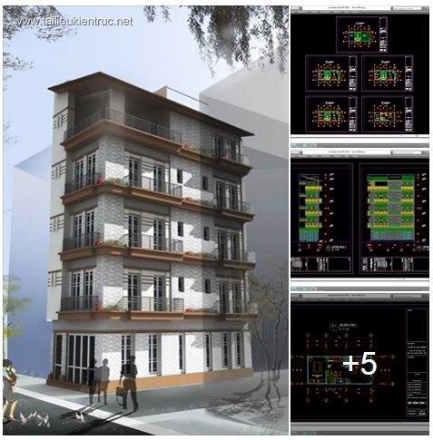 Hồ sơ thiết kế thi nhà phố 5 tầng 6x12,5m - 017