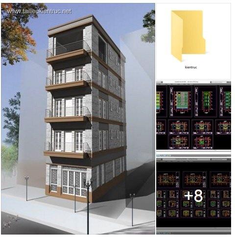 Hồ sơ thiết kế thi công nhà phố 5 tầng diện tích 5x12m 018