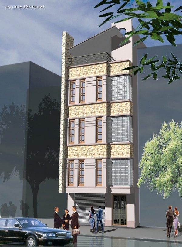 Hồ sơ thiết kế thi công nhà phố 4 tầng diện tích 5,7x7m 020
