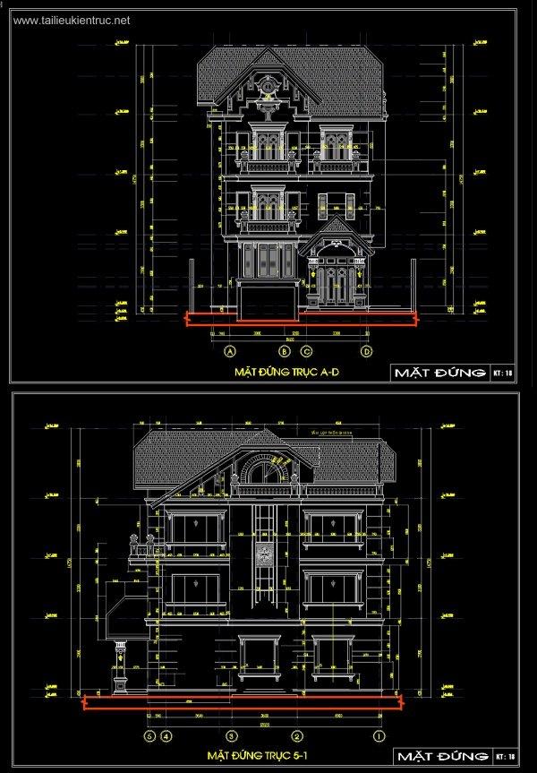 Hồ sơ thiết kế biệt thự 9x15m 3 tầng Pháp cổ - 0021