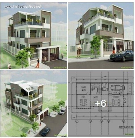 Hồ sơ thiết kế nhà phố 3 tầng diện tích 9x20m 021