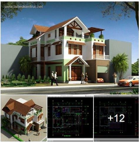 Hồ sơ thiết kế biệt thự 10x15m 3 tầng - 0022