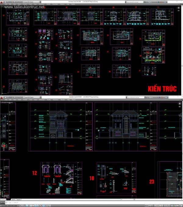 Hồ sơ thiết kế thi công biệt thự 11x22m 3 tầng Pháp cổ - 0023