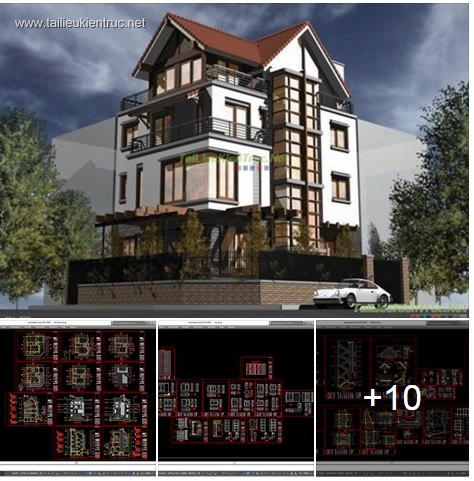 Hồ sơ thiết kế thi công biệt thự 12x14m 4 tầng mái dốc - 0024