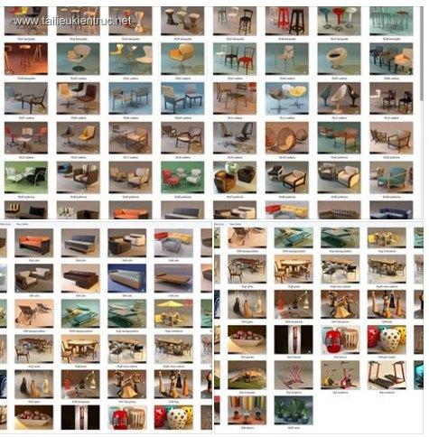 Tổng hợp 100 Model bàn, ghế tổng hợp các loại 00011