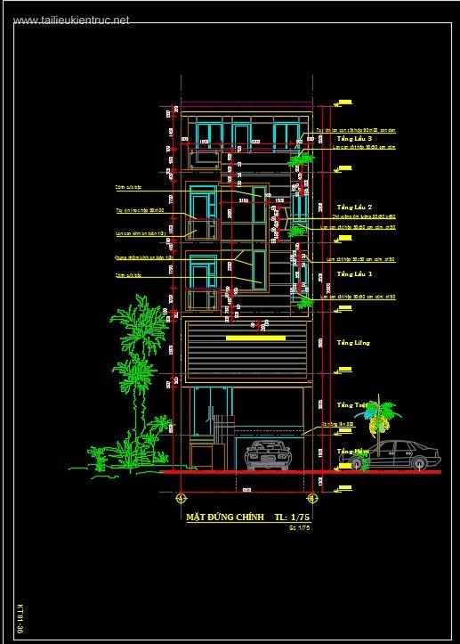 Hồ sơ thiết kế nhà phố 4 tầng diện tích 6x15m 024