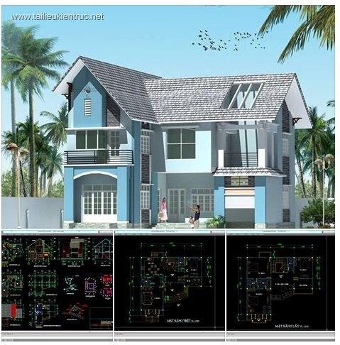 Hồ sơ thiết kế thi công biệt thự 12x12m 2 tầng mái dốc - 0025
