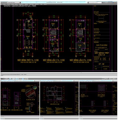 Hồ sơ thiết kế nhà phố 3 tầng diện tích 4x12m 025
