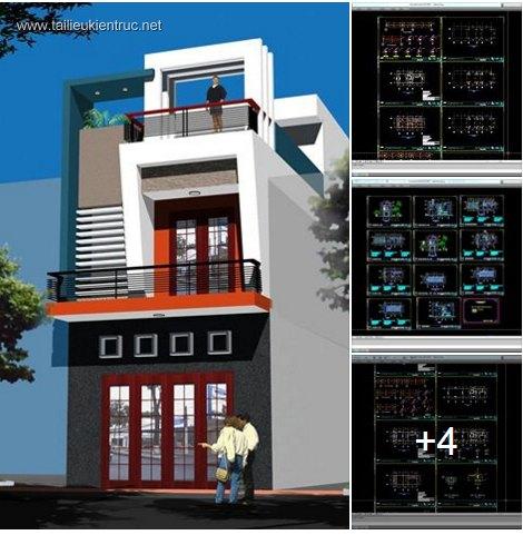 Hồ sơ thiết kế nhà phố 2 tầng diện tích 5x12m 028
