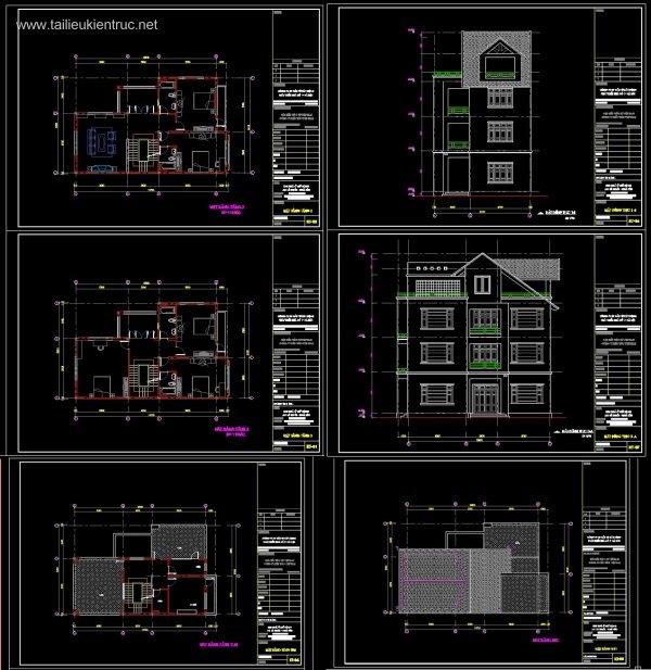 Hồ sơ thiết kế biệt thự 9x13m 3 tầng - 0027