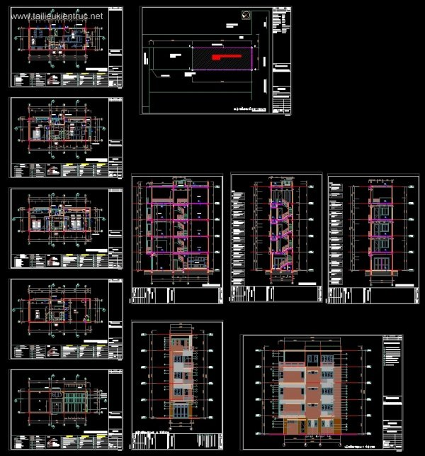 Hồ sơ thiết kế thi công nhà phố 5 tầng diện tích 4,5x12m 031