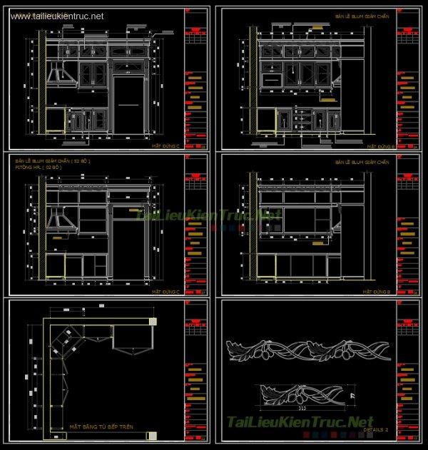 Bản vẽ chi tiết Bếp autocad phong cách Tân cổ điển