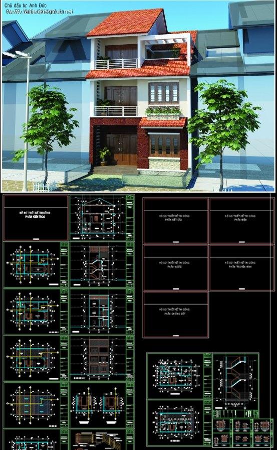 Hồ sơ thiết kế biệt thự 8x13m 3 tầng - 0028