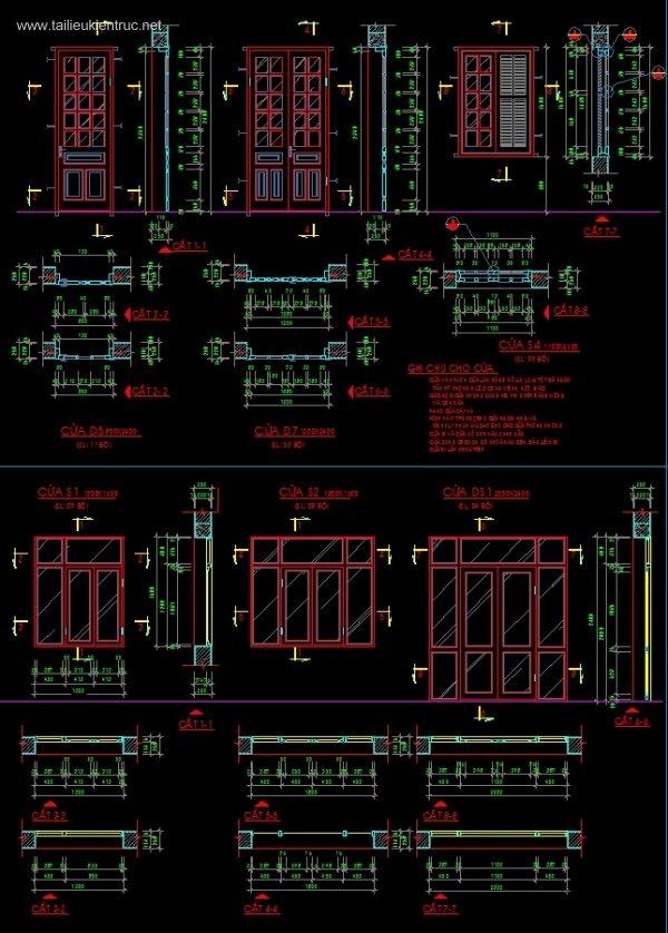 Tổng hợp thư viện các mẫu Cửa Gỗ Autocad 002