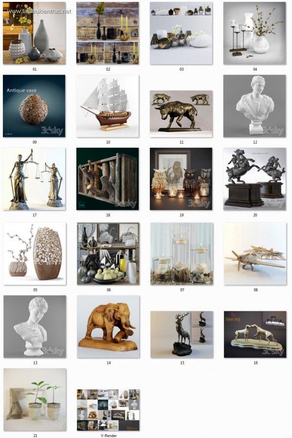 Tổng hợp 21 Model vật trang trí 3d Sketchup full