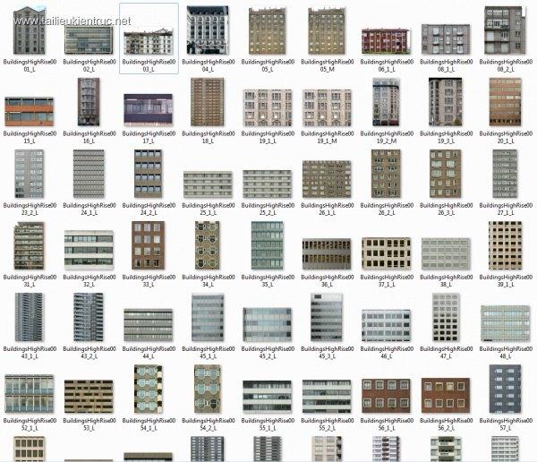 Thư viện mặt đứng nhà cao tầng 01 dùng để Ghép phối cảnh công trình