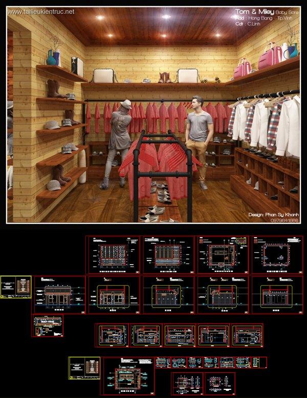 Hồ sơ thiết kế Nội thất shop quần áo trẻ em