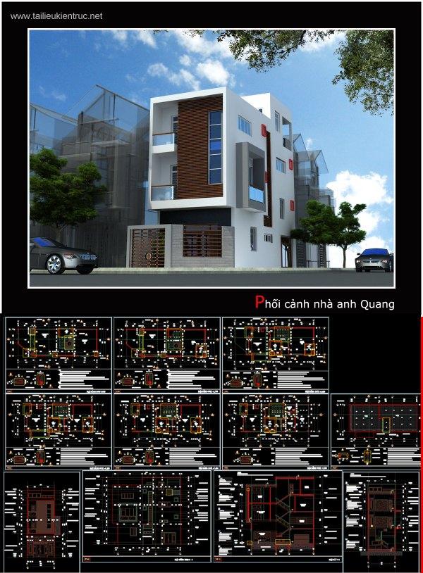 Hồ sơ thiết kế thi công nhà phố 3 tầng diện tích 5,5x16m 033