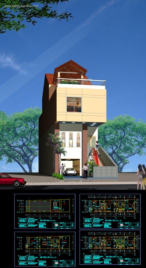 Hồ sơ thiết kế thi công nhà phố 4 tầng diện tích 5,2x15m 034