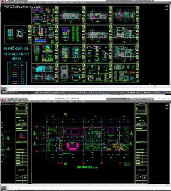Hồ sơ thiết kế thi công nhà phố 3 tầng 6x20m - 035