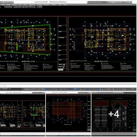 Hồ sơ thiết kế biệt thự 9x21,5m 4 tầng - 0029